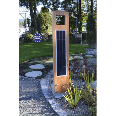 Borne solaire puissante bois 204 lumens