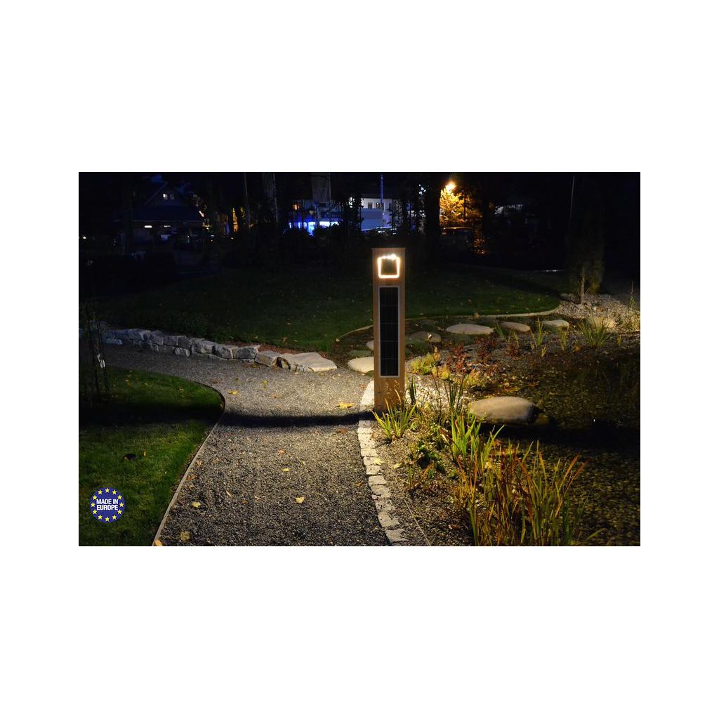 borne solaire puissante bois 204 lumens eclairage zs. Black Bedroom Furniture Sets. Home Design Ideas