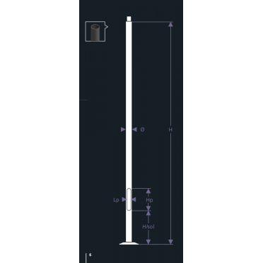 Mât tubulaire 5 m pour Tête de lampadaire solaire