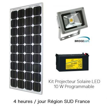 Projecteur solaire puissant 10w kit programmable 4h région sud