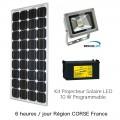 Projecteur solaire puissant 10w kit programmable 6h/jour corse 1
