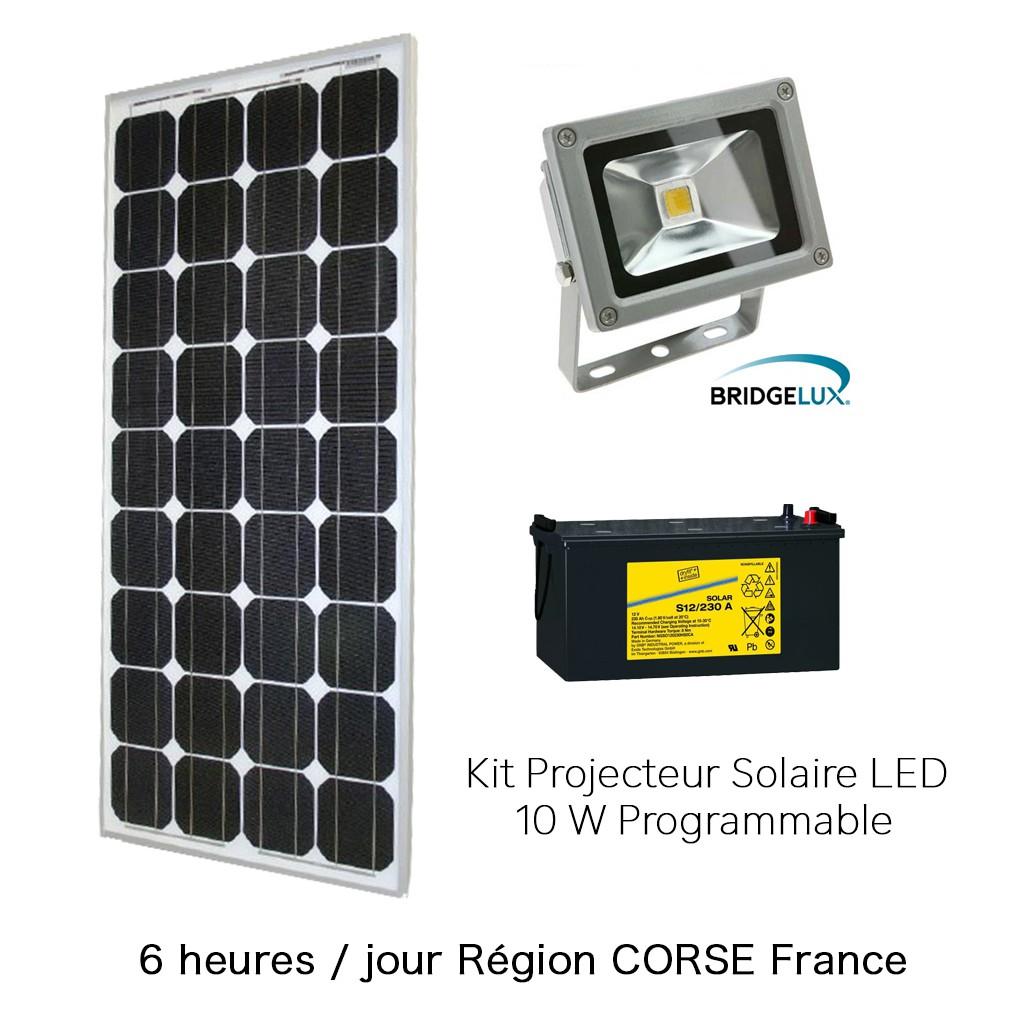 projecteur solaire 10w kit programmable 6h corse zs. Black Bedroom Furniture Sets. Home Design Ideas
