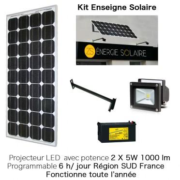 Kit enseigne solaire 2X5W 6H programmable sud