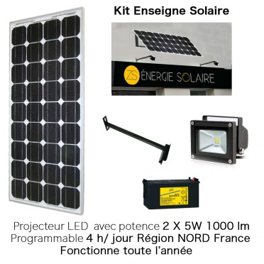 Kit enseigne solaire 2X5W 4H programmable Nord France